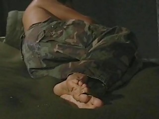 Military recruit wakes up in the middle of the night to jerk his rod