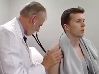 Pervert gay doctor touching younger man footage