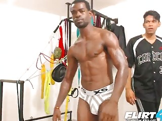 Tied-up ebony hunk can't do anything as he's jerked off