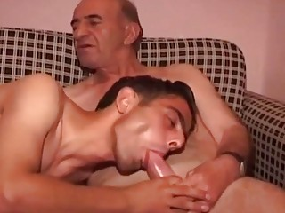 Old fucker feeds this young babe his bare member