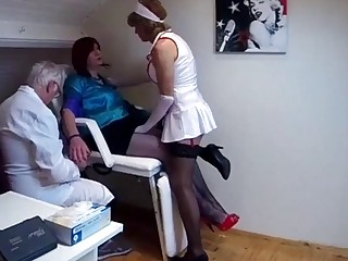 Doctor and nurse are fucking their crossdressing patient