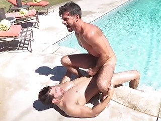 Poolside action from Randy and Daniel