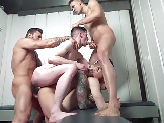 Gay sluts set up an ass fucking train