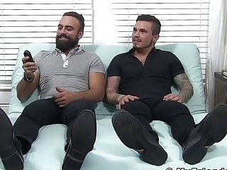 Two buff hunks let man sniff and lick their feet and toes