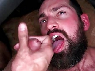 Hairy stud gets his ass filled before a facial