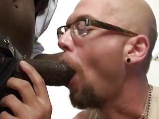 Bald guy gets his first taste of afro penises