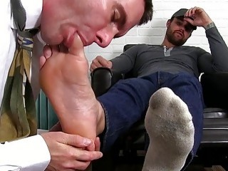 Dominated hunk has to lick these dirty feet