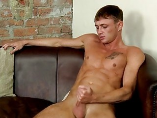 Fit stud takes his clothes off to jerk off hard