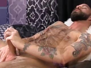 Inked stud uses a dildo and fucks a fleshlight hard
