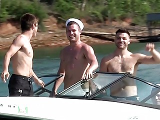 Hot summer threesome on a boat with hung hunks