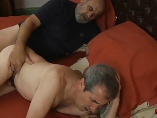 Gay older guys have bareback anal