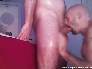 Moustached man swallows a prick to the hilt
