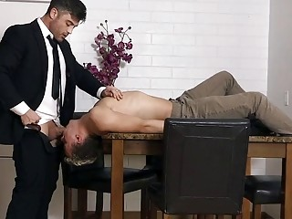 Dad punishes and fucks his twink son in the kitchen