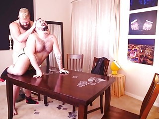 Two bears play strip poker and fuck on the table