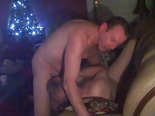 Amateur gay guys have homosexual sex in the living room