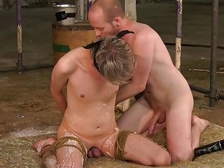 Pretty homo blonde is waxed before a frustrating handjob