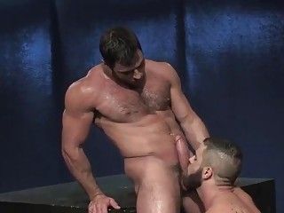 Two huge guys are moaning like whores during anal sex