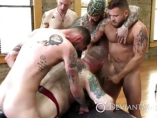 Inked bears rutting like animals during orgy