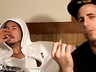 Two straight thugs stroke their long cocks and cum
