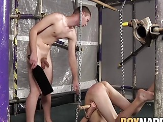 Skinny twink tied up for BDSM torture and anal slamming