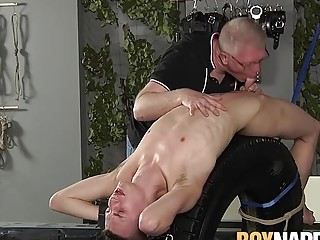 Old vs young with the older master punishing his twink sub