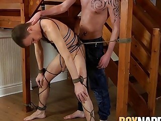 Big dick master and his bound young sub