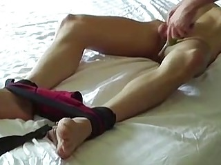 BDSM tickling with young bound twink