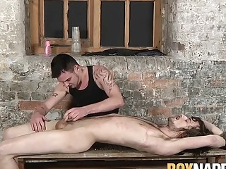 Submissive twink blindfolded and spanked